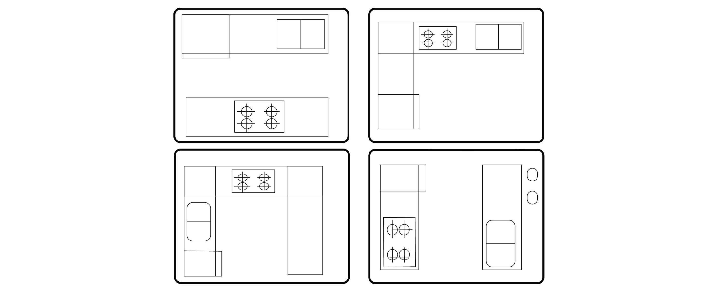 การเลือกรูปแบบผังเคาน์เตอร์ การทำชุดครัวบิ้วท์อินที่ผ่านมาเราอาจคุ้นเคยกับการวางผังเคาน์เตอร์ครัวโดยยึดหลักสามเหลี่ยมนั่นคือ เตา อ่างล้างจาน และตู้เย็น ควรวางในตำแหน่งมุมของสามเหลี่ยม ซึ่งตอบสนองไลฟ์สไตล์แบบเดิมที่ห้องกินข้าวแยกกับห้องครัว แม่เป็นแม่บ้านอยู่บ้านคนเดียว จ่ายตลาดบ่อย และไม่มีปาร์ตี้ แต่ทุกวันนี้ไลฟ์สไตล์ของคนส่วนมากได้เปลี่ยนไปเป็นกินข้าวในครัวเลย พ่อและแม่ออกไปทำงานทั้งคู่ หรืออยู่เป็นครอบครัวขยาย จ่ายตลาดสัปดาห์ละครั้ง มีปาร์ตี้บ่อย การจัดวางผังในครัวสมัยนี้ จึงมีรูปแบบที่ยืดหยุ่นมากขึ้นเพื่อรองรับไลฟ์สไตล์ที่เปลี่ยนไป จากผังครัวแบบตัวแอล ตัวยู ตัวไอ หรือแบบคู่ขนานที่เราคุ้นเคย ก็อาจปรับไปได้หลากหลายมากขึ้น จากขั้นตอนการวัดพื้นที่และลองวาดผังพื้น อาจสังเกตได้ว่า ครัวของคุณไม่ได้มีลักษณะเป็นห้องที่มีผนังปิดล้อมที่ด้านอีกต่อไป แต่เป็นครัวที่เชื่อมพื้นที่ต่อเนื่องกับส่วนอื่นๆ ไม่ว่าจะเป็นส่วนกินข้าว ห้องพักผ่อน หรือแม้แต่สวน ฉะนั้น ก่อนลงมือวางผังห้องครัว และทำชุดครัวบิ้วท์อินลองดูตัวอย่างการจัดวางที่หลุมจากกรอบห้องครัวแบบเดิมๆ เพื่อหารูปแบบครัวที่ตอบสนองการใช้งานของคุณได้จริงๆ
