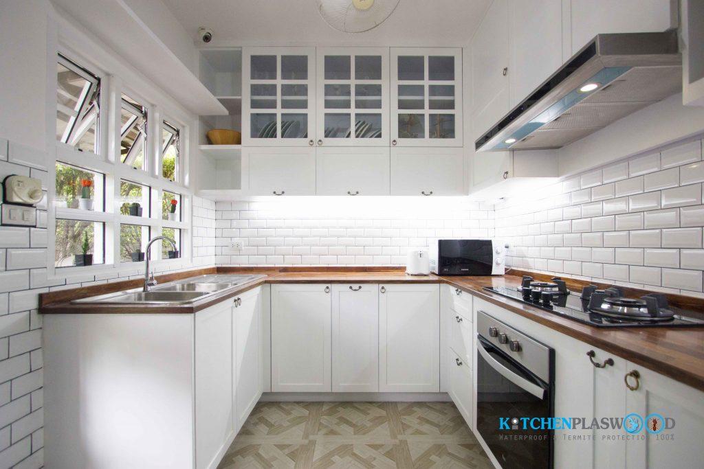 ชุดครัว (Plaswood) สีขาววินเทจ