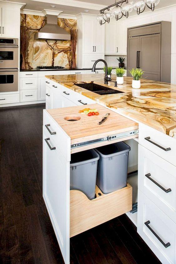 แบบไอเดียถังขยะภายในครัว