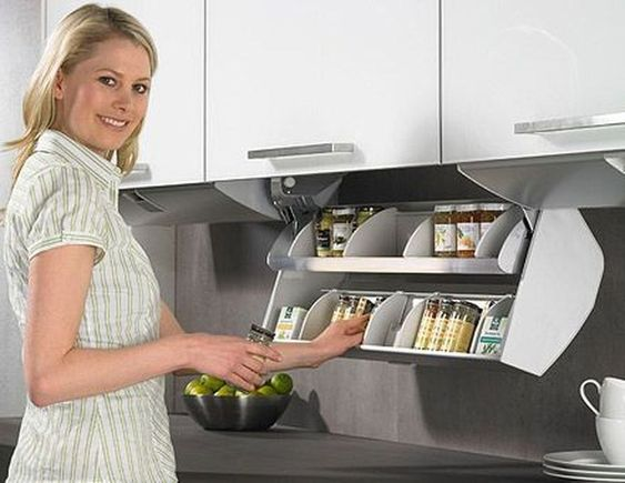 ไอเดียการจัดเก็บของสำหรับครัวขนาดเล็ก ครัวคอนโด,จัดเก็บเครื่องปรุงใต้ตู้ลอย
