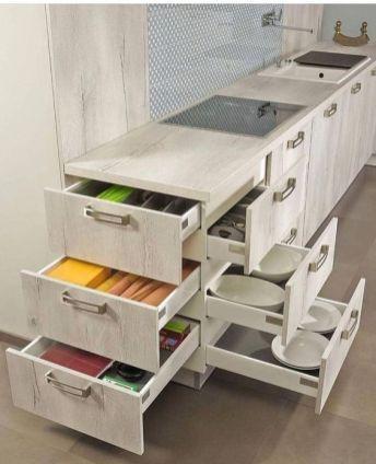 ไอเดียการจัดเก็บของสำหรับครัวขนาดเล็ก ครัวคอนโด, ดีไซน์ลิ้นชักชุดครัว
