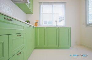 เคาน์เตอร์ล่าง, ชุดครัวบิ้วอินสไตล์วินเทจ โทนสีเขียวเอิร์ธโทน (L-Shape)