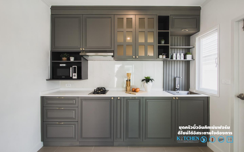 Dark gray classic kitchen ชุดครัวสไตล์คลาสสิคสีเทาเข้ม