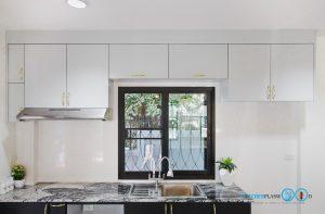 หน้าบานเรียบพ่นสีเทาด้าน, Mini Kitchen I Shape : ครัวบานเรียบในสไตล์โมเดิร์น