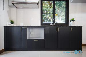 หน้าบานเรียบพ่นสีดำด้าน, Mini Kitchen I Shape : ครัวบานเรียบในสไตล์โมเดิร์น