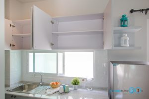 Mini Kitchen L Shape : ชุดครัวไซส์เล็ก เข้ามุมสุดเนี๊ยบ, ช่องเก็บของขนาดใหญ่, ชั้นวางปรับระดับ,