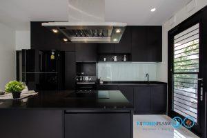 Modern Black Kitchen ชุดครัวดำสุดเท่ ในสไตล์โมเดิร์น, หุ้มสีระบบสุญญากาศ,