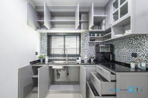 ชุดครัวคลาสสิค โทนสีเทา สวยเท่ ใช้งานหนักได้จริง, ภายในตู้ครัว,