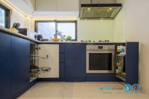 Two Tone Modern Kitchen ชุดครัวสองสี ในสไตล์โมเดิร์น, อุปกรณ์ฟิตติ้ง, ชุดตะแกรงจัดเก็บ,
