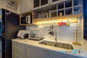 Classic Kitchen 2 Side I Shape เรียบหรูแบบมีสไตล์, ผนังกันคราบ, กระเบื้องกันคราบ, กระเบื้องสีขาวเงา,