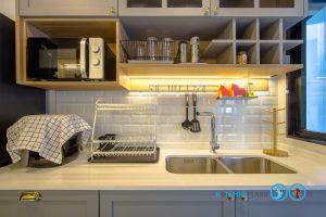 Classic Kitchen 2 Side I Shape เรียบหรูแบบมีสไตล์, ชุดครัวสีเทา, ชั้นไม้ลามิเนต,