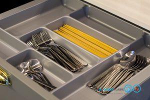 Classic Kitchen 2 Side I Shape เรียบหรูแบบมีสไตล์, อุปกรณ์ฟิตติ้ง, ถาดใส่ช้อนซ้อม,