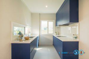 Modern Blue Kitchen ชุดครัวเรียบง่าย สไตล์โมเดิร์น, ชุดครัวตัวไอ, ตัวไอ 2 ฝั่ง, ชุดครัวสีน้ำเงิน,