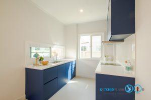 Modern Blue Kitchen ชุดครัวเรียบง่าย สไตล์โมเดิร์น, ชุดครัวสไตล์โมเดิร์น, I Shape Kitchen, เคาน์เตอร์ล้างจาน,