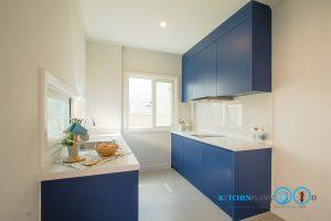 Modern Blue Kitchen ชุดครัวเรียบง่าย สไตล์โมเดิร์น, ชุดครัวสไตล์โมเดิร์น, I Shape Kitchen, เคาน์เตอร์ทำครัว,