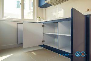 Modern Blue Kitchen ชุดครัวเรียบง่าย สไตล์โมเดิร์น, ช่องเก็บของ, ภายในตู้ครัว,