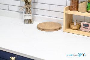 ชุดครัวสายหวาน, Sweet Kitchen Design, หน้าท็อปหิน, Top Counter, ท็อปหินควอทซ์, ท็อปสีขาว,