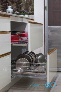 ชุดครัวโทนสีขาวไฮกรอส สุดหรู สไตล์ Modern I Shape, ชุดตะแกรงชุดครัว, ชุดตะแกรงอเนกประสงค์,