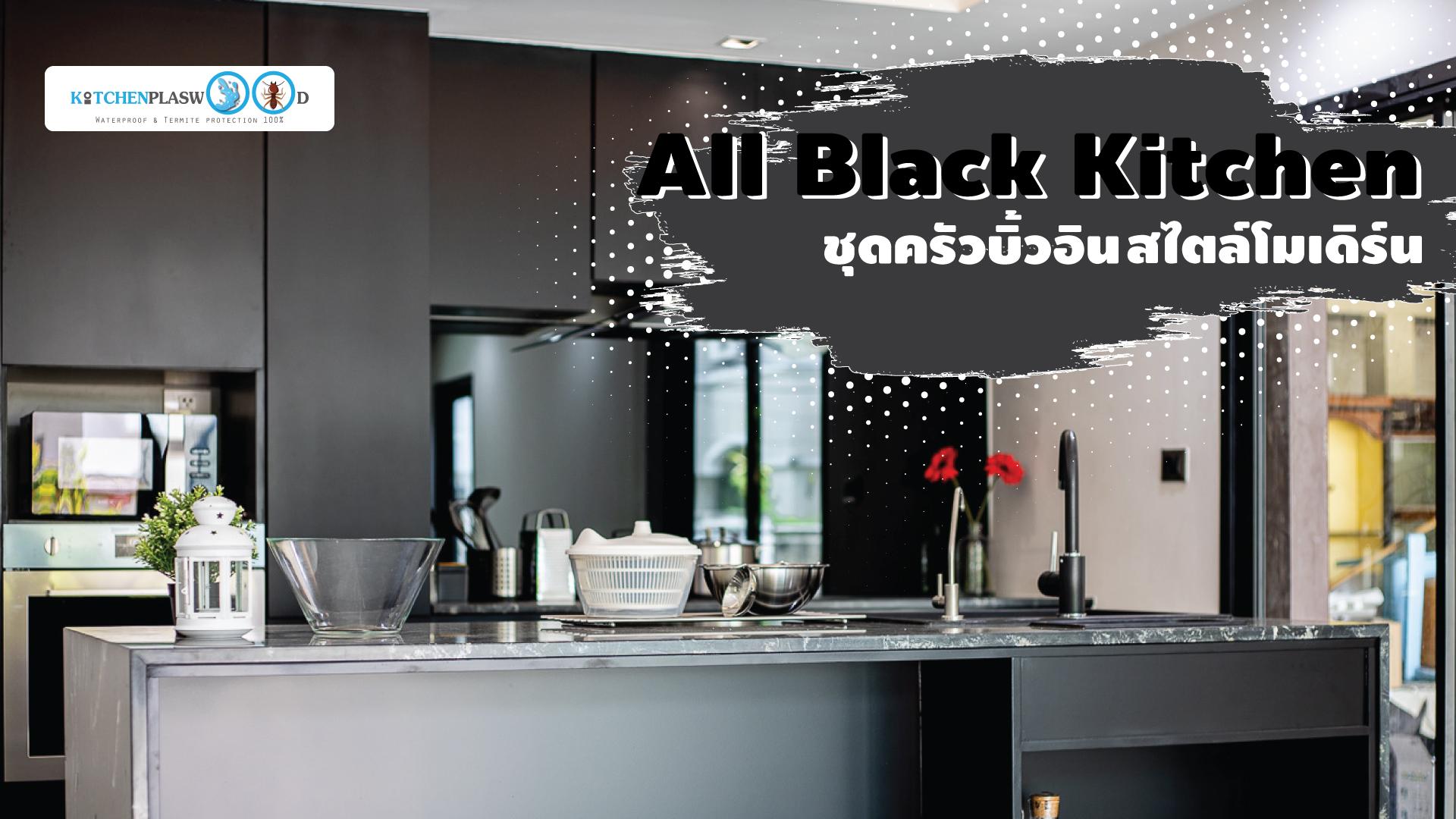 ชุดครัวบิ้วอิน All Black Kitchen ครัวสุดเท่ ในสไตล์โมเดิร์น, ชุดครัวบิ้วอิน, ครัวดำ, เคาน์เตอร์ครัว, ครัวตัวไอ, I Shape Kitchen, island counter,