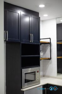 ชุดครัวบิ้วอินสุดเท่สไตล์ Industrial Loft โทนสีดำด้าน, ชุดครัวบิ้วอิน, ครัวสไตล์ลอฟท์, Loft Kitchen, Industrial Loft Kitchen, ชุดครัว I Shape, ชุดครัวสีดำด้าน, ตู้สูง,