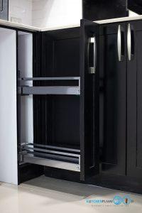 ชุดครัวบิ้วอินสุดเท่สไตล์ Industrial Loft โทนสีดำด้าน, ชุดครัวบิ้วอิน, ครัวสไตล์ลอฟท์, Loft Kitchen, Industrial Loft Kitchen, ชุดครัว I Shape, ชุดครัวสีดำด้าน, ตู้สูง, ชุดตะแกรงจัดเก็บ,