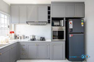 Matt Gray Kitchen, ชุดครัวโครงปูน, บิ้วอินชุดครัว, ชุดครัวตัวแอล, ชุดครัวสไตล์คลาสสิก, ครัวสีเทาด้าน,